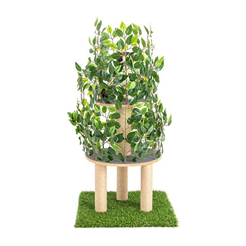 Scurrty Cat Trees with Leaves Cat House& Cat Condo Furniture Kittens Activity Tower with Sisal-Covered Scratching Posts for Kittens, Cats and Pets