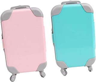 """simhoa 2X Cute Plastic Doll Suitcase Travel 3D Trunk Fits 18"""" Baby Doll Accessories"""