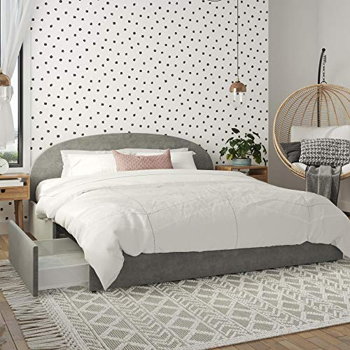 Mr. Kate Moon Upholstered Bed with Storage, King Size Frame, Light Gray Velvet