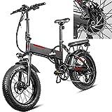 Bicicleta eléctrica Velocidad máxima de conducción 45 km/h Bicicletas Plegable Bicicletas eléctricas Iones de Litio 13.6AH Freno Frenos de Disco mecánicos, Negro