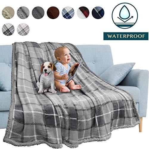 Bernice Winifred wasserdichte Decke, Pee Proof Blanket Protector Cover für Sofa, Couch, Bett, Baby, Haustiere, Hunde, Katzen |Reversible Soft Plüsch Fleece Throw, Charcoal-PlaidLightGre(40×30