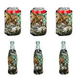 Realtree Beer Can & Bottle Coolie 6-Pack -Camo Beverage Insulator Can Sleeves, Black