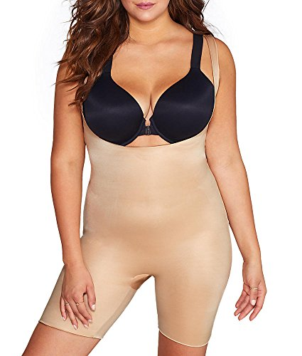SPANX Power Conceal-Her Open-Bust Mid-Thigh Bodysuit Natural Glam LG