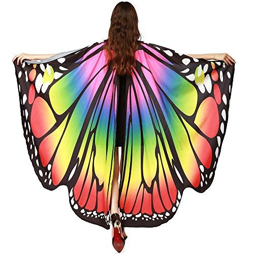 Guobin Chal de Alas de Mariposa Duendecillo para Adulto Mujer Capa de Muchacha Accesorio para Disfraz Playa Fiesta (Multicolor)