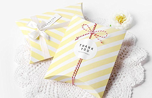 AimtoHome Pillow Candy Box Yellow White Stripes Pillow Style Design for Wedding Baby Shower Birthday Party Supplies Favor Box Party Favors Pack of 50