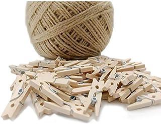 Mini-Wäscheklammern aus Holz + 100 m Schnur, für dekorative Fotowand, DIY Dekoration,..
