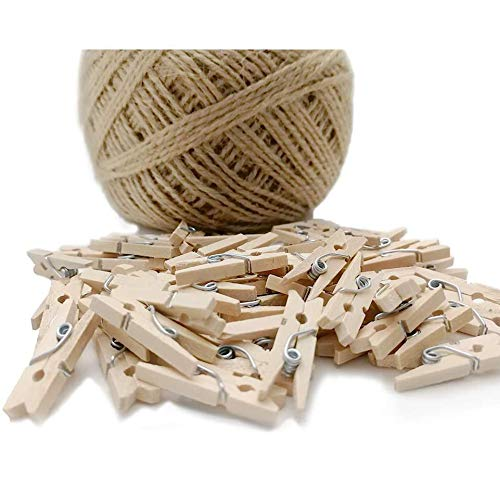 Dorman Walsh 60pcs Mini Wooden Clothes Pins  100m Twine Mini Clothespins for Decorative Photo Wall DIY Decorations Mini Wooden Clothespins Tiny Pegs for Arts and Crafts Weddings Events