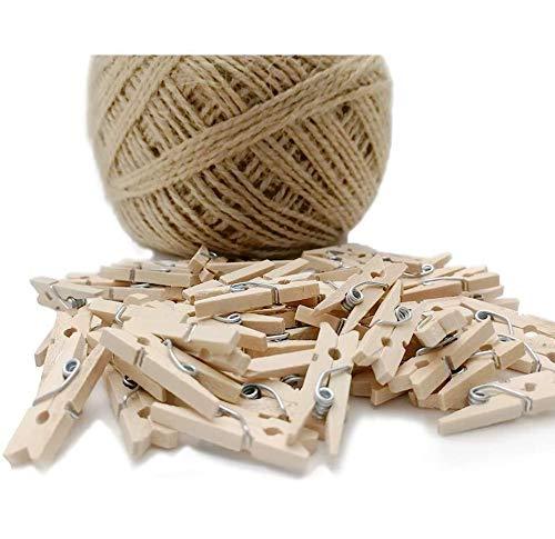 60 mini pinzas de madera + cuerda de 100 m, para decoración de pared de fotos, decoración de bricolaje, mini pinzas de ropa de madera, pequeñas pinzas para arte y manualidades, bodas y eventos
