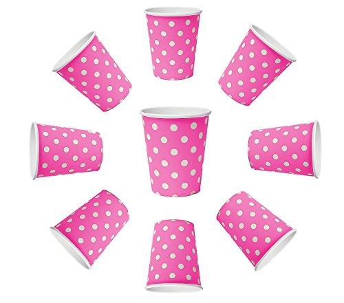 50 gobelets de 200 ml - rose à pois - En papier - Pour repas - Boissons chaudes et froides
