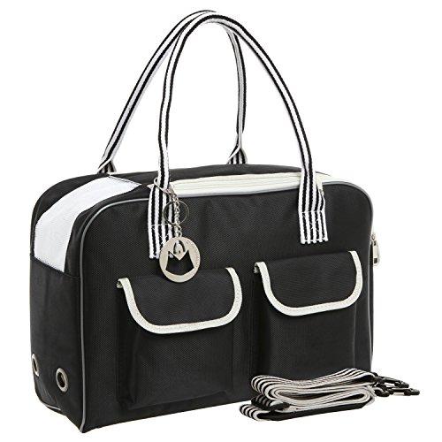 MG Collection Black Cat / Dog Designer Inspired Soft Sided Nylon Pet Carrier Travel Tote Hand Bag