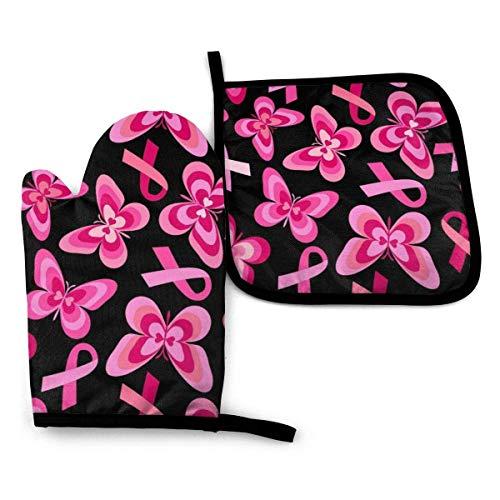 iuitt7rtree Breat Cancer - Manoplas para horno y ollas, diseño de cinta rosa, impresión 3D, antideslizante, lavable, resistente al calor, guantes de cocina para microondas, barbacoa, hornear, etc.