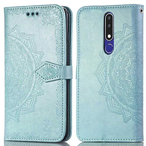 Bear Village Hülle für Nokia 3.1 Plus, PU Lederhülle Handyhülle für Nokia 3.1 Plus, Brieftasche Kratzfestes Magnet Handytasche mit Kartenfach, Grün