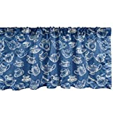Ambesonne Teapot Window Valance, Rhythmic Engraving Sketch Style Dotted Pots Tea Vintage Cups Pattern, Curtain Valance for Kitchen Bedroom Decor with Rod Pocket, 54' X 12', Cobalt Blue and White
