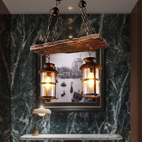 Lámpara Colgante E27 * 2 Lámpara Colgante Retro De Madera Vintage Hierro...
