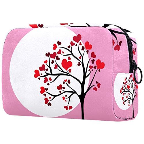 FURINKAZAN Bolsa de maquillaje de viaje con forma de corazón rosa y rojo para artículos de tocador, bolsa de maquillaje para hombres y mujeres