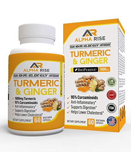 Turmeric Ginger Capsules by Alpha Rise - Joint Pain Relief Anti-Inflammatory Supplement - 1600mg Curcumin Root Extract with 20mg Bioperine Black Pepper for Maximum Effect - 60 Veg Powder Caps