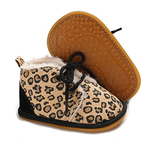 ENERCAKE Baby Booties Newborn Boy Girl Shoes Winter Warm Fur Lining Non-Slip Lace Up Prewalker Boots(0-6 Months Infant, A-Leopard)