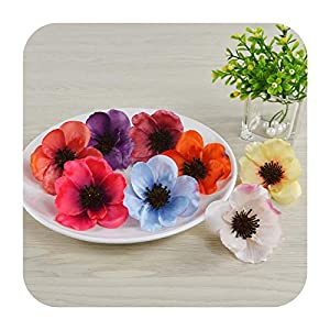 Hopereo 15Colors 7Cm Artificial Silk Poppy Flower Heads for DIY Wedding Decoration Hairpin Wreath Accessories Festival Supplier-Remark Mixed Color-25 Pieces