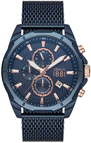 Cerruti 1881 Herren-Armbanduhr, Stahl, Blau