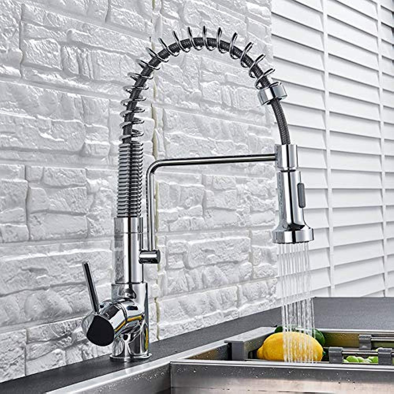 YHSGY Küchenarmatur Chrome Polnischen Küchenarmatur Deck Montiert Hei Kaltwasser Mischer Wasserhahn Für Frühling Küche Pull Down Mixer Kran 2 Funktion Auslauf