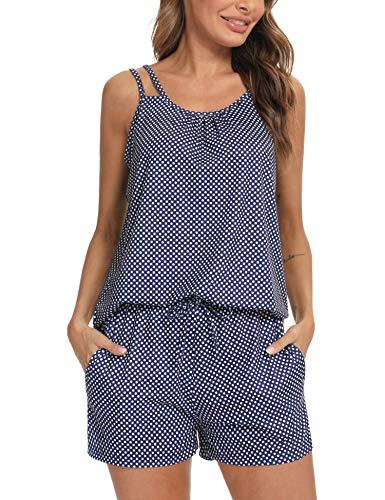 Doaraha Pijama Corto Mujer Verano Impresión de Lunares Ropa de Dormir Camisola Camiseta sin Mangas Pantalones Cortos Conjunto de Pijamas Cortos Suave Dos Piezes (Azul Marino, XL)