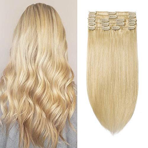 Extensiones de Clip de Pelo Natural Cabello Humano (Double Drawn) 8 Piezas 18 Clips 100% Remy Human Hair - 10