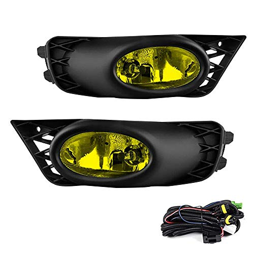 Driving Fog Lights Lamps Replacement for Honda Civic Sedan 2009 2010 2011 with H11 12V 55W Halogen Bulbs & Switch and Wiring Kit (Yellow Lens)
