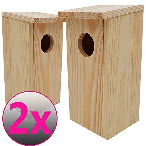 DILUMA Nistkasten Compact 2er Pack 22 x 9 x 10 cm aus FSC Holz Nisthaus perfekt für Meisen Kohlmeisen Kleiber Rotschwänzchen und weitere Vogelarten Vogelnistkasten