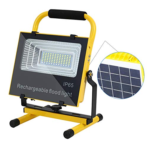 80w Rechargeable Work Light, Portable Flood Light for Outdoor Camping Hiking Emergency Car Repairing Workshop Job Site Lighting