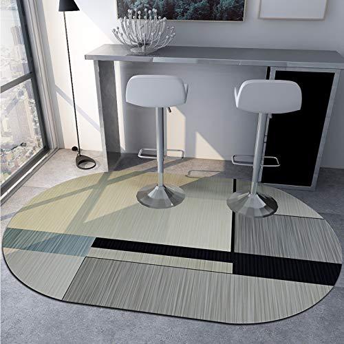 SN Huipeng Alfombra redonda grande moderna geométrica, sala de estar, dormitorio, irregular, lavable, no se desprende de la alfombra de decoración del hogar, 120 x 200 cm