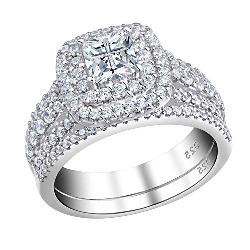 Newshe Wedding Rings for Women Engagement Ring Sets Sterling Silver Cz 1.7Ct Princess Cross Size 7
