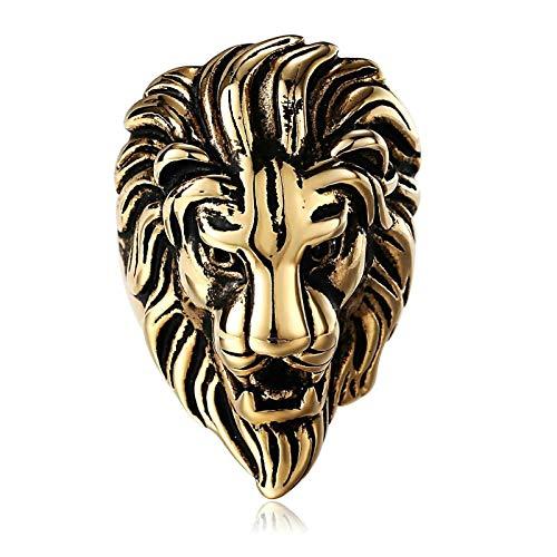 Daesar Anillo Hombre,Anillo Cabeza de León Anillo Acero Inoxidable Hombre Oro Anillo Talla 25