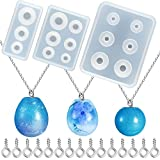 3 Pieces Ball Pendant Resin Molds Set Egg-Shaped Ball Resin Mold 2 Pieces Universe Ball Resin Molds and 100 Pieces Eye Screw DIY Pendant Casting Silicone Mold for Jewelry Making