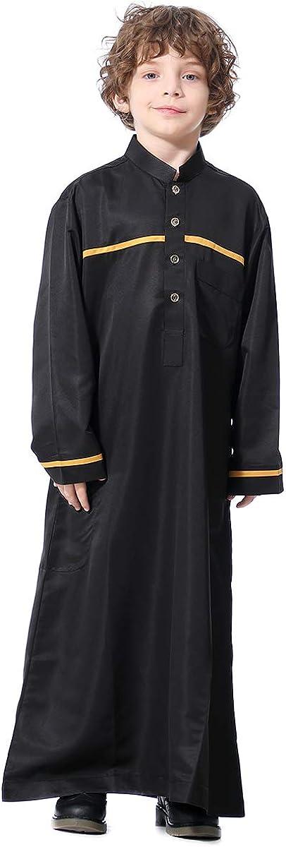 XINNI Arabic Thobe Muslim Thobe Long Sleeve Kaftan Stand Collar Robe with Botton for Boy