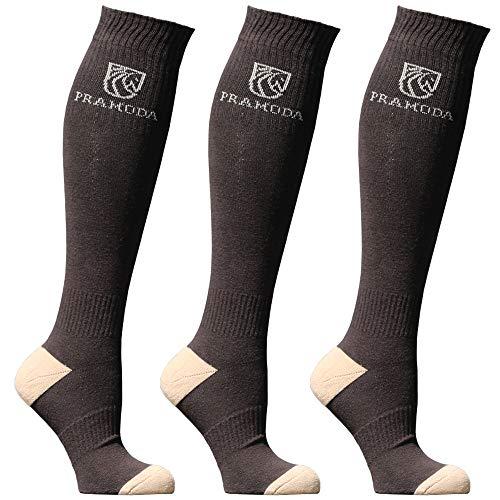 Pramoda 3 pares de calcetines de equitación para hombre, algodón, color marrón (41-44)