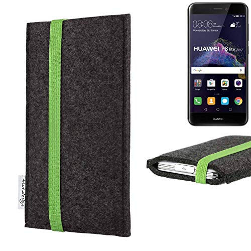 flat.design vegane Handy Tasche Coimbra kompatibel mit Huawei P8 Lite 2017 Dual SIM - Schutz Hülle Tasche Filz vegan fair grün