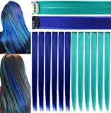 Rhyme 12 PCS Princess Party Highlight Blue Teal Hairpieces Colored Hair Extension Clip in/On for Amercian Girls and Dolls Wig Pieces for Kids (Blue Teal)