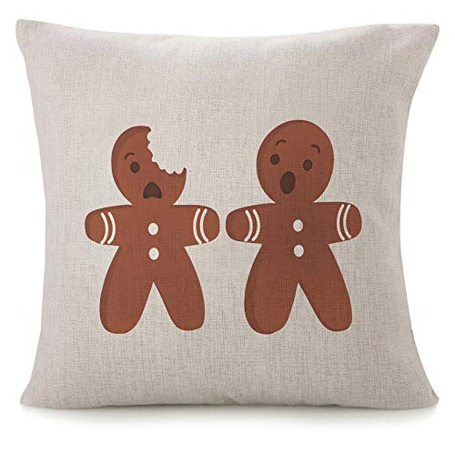 Throw Pillow Covers For Couch Funny Gingerbread Men Bitten Christmas Decorative Square Bed Sofa Pillows Case Cartoon Kawaii Brown Humor Lovely Seasonal Sweet Traditional Linen Cushion Cover 18X18 Inch