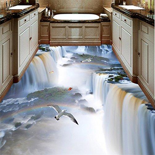 Lqwx El Suelo Del Baño Cascada De Pared 3D De Papel Impermeable Engrosamiento Mural Suelo Antideslizante Pintura Pvc Autoadhesivo Wallpaper-120Cmx100Cm