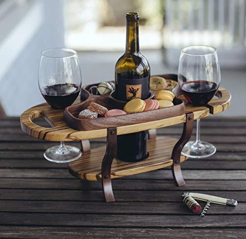 Handmade Wood Wine Caddy Tabletop Wine Bottle Rack Wine Glass Holder Handmade