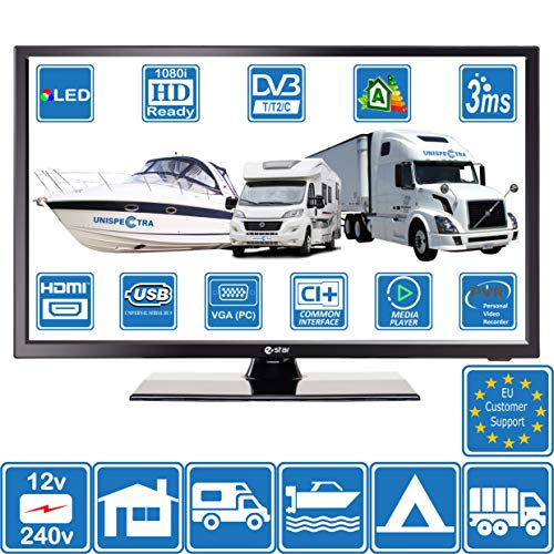 Camper Caravan Barca 12 Volt 24 Pollici 61 cm LED HD Digitale TV DVB-T2/C Terrestre, Cavo TV 12V 240V USB PVR & Lettore Multimediale, VGA & HDMI Monitor per PC (For EU)