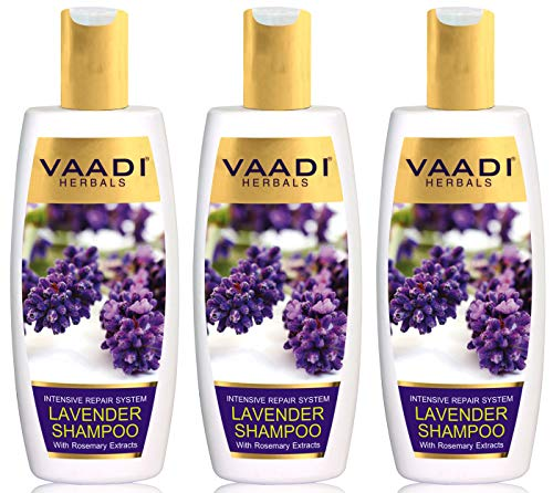 Lavande avec Shampooing à l'Extrait de Romarin Shampooing Réparateur Intensif TOUT SANS Sulfate Naturel sans paraben pour tous les types de cheveux - Bouteilles (3 X 350 ML) - Vaadi Herbals...