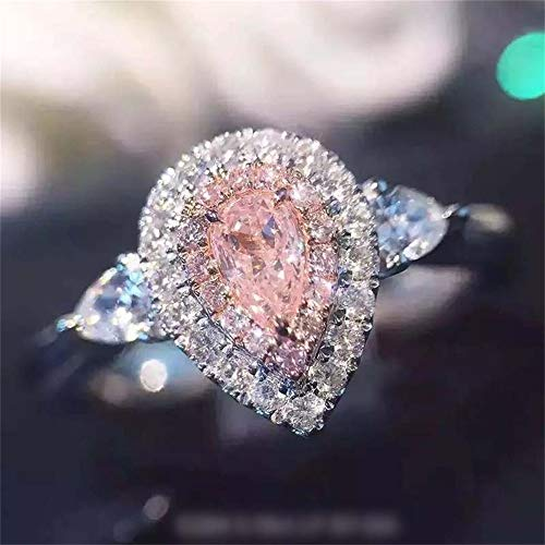 925 Sterling Silver Pink Diamond Ring Teardrop Halo Pear Cut 2Ct Cubic Zirconia Rings CZ Eternity Engagement Wedding Band Ring for Women (US Code 6)