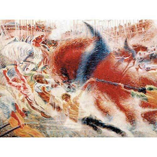 Umberto Boccioni The City Rises 1910 Painting Premium Wall Art Canvas Print 18X24 Inch