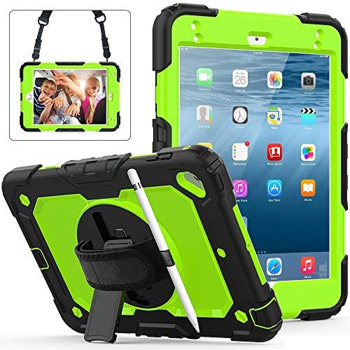 Tablet PC Bolsas Bandolera Cubierta protectora para iPad Mini4, mini5 a prueba de golpes a prueba de golpes, pienso giratorio de 360 grados y correa de hombro y hombro PC + Funda protectora de silic