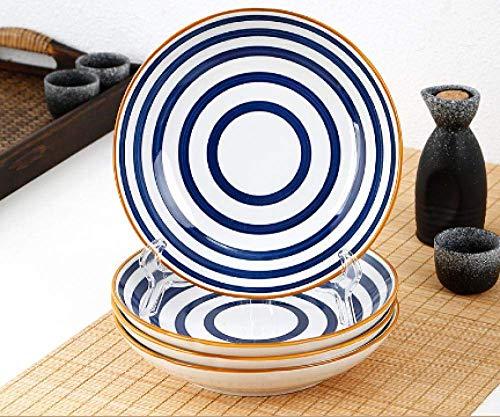 XCY Plato de plato creativo de red roja plato occidental para ensalada de postre, platos de cerámica, 4 piezas, paquete de 4 anillos anuales de 20.32 cm