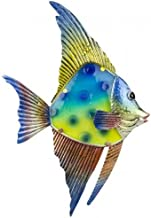 HANAH Hanging Wall Art Decoration Glass and Metal Reef Fish- Indoor Outdoor- Beautiful Decor