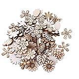 Juego de Flores y hojas de madera de 400pcs - Flores de madera hoja de madera para manualidades de madera natural suave