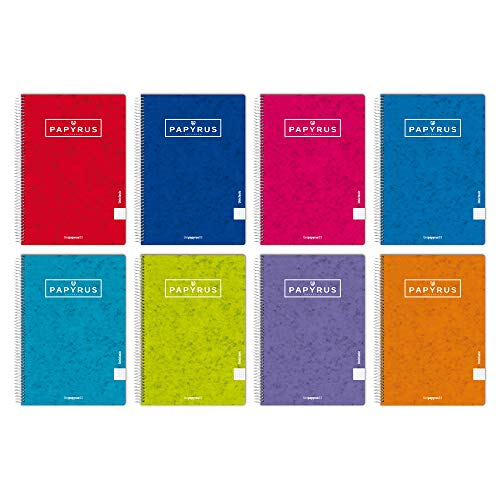 Unipapel Pack de 5 Cuadernos, Papyrus 03-Uniclasic, Papel 90g, 80 Hojas, Colores Surtidos Aleatorios