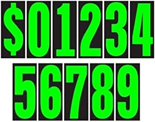 Auto Dealer Supplies 5 1/2 Vinyl Number Decals, Windshield Pricing Stickers, Chartreuse Car Lot Pricing Numbers, 11 Dozen
